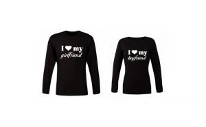 Set 2 bluze negre pentru cupluri - I love Friend