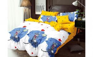 Lenjerie pentru pat dublu, cu 2 fete, din finet de calitate superioara, 6 piese