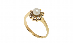 Inel din aur 14K cu perla
