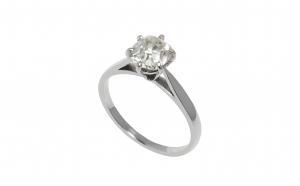 Inel de logodna aur alb 18K cu diamant