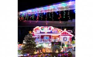 Instalatie Craciun 8 metri franjuri cu LED-uri multicolor