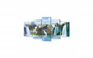 Tablou MultiCanvas 5 piese, Mural Cascade, 100 x 50 cm, 100% Bumbac