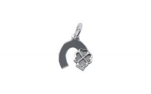 Pandantiv Argint 925 Potcoava cu Trifoi + Snur Martisor