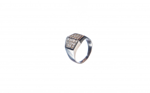 Inel din aur alb 14K cu 24 diamante
