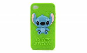 Husa iPhone 4/4S Adorable 3D Cuties Stitch Green