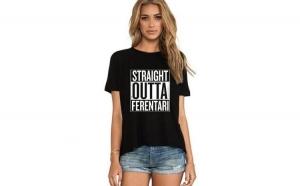 Tricou dama negru - Straight Outta Ferentari