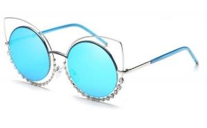 Ochelari de soare Ochi de Pisica Oglinda Bleu - Argintiu cu cristale