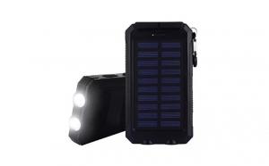 Baterie externa solara Army waterproof, 10000 mAh, 2 sloturi USB pentru incarcare, lanterna cu 3 faze
