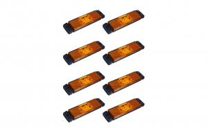 Set 8 lampi gabarit 130x32 cu 4 LED-uri, galbena, cu suport urechi, 12V