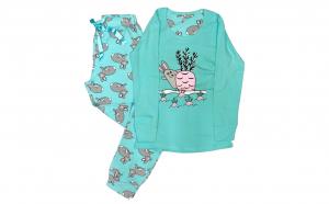 Pijama de Dama din Bumbac,Culoare Turcoaz