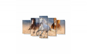 Tablou MultiCanvas 5 piese, Three Horse in Desert, 200 x 100 cm, 100% Poliester