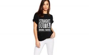 Tricou dama negru - Straight Outta Drumul Taberei