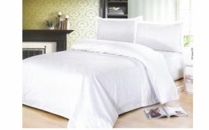 Lenjerie pat dublu, culoare alba, acum la pretul de 80 RON in loc de 149 RON. Oferta limitata