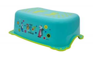 Taburet Inaltator Baie Copii MyKids Little Bear and Friend cu sistem antialunecare Turquoise