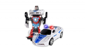 Jucarie Masinuta TRANSFORMERS Robot Police AKU interactiv, cu actiune Bump and Go LED Sunete specifice