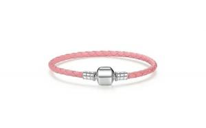 Bratara pentru talismane din argint 925 Braided Pink Leather