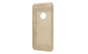 Husa Apple iPhone 8 Plus Flippy Full Cover 360 Auriu + Folie de protectie