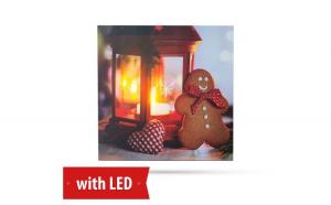FAMILY POUND -  Tablou de Craciun, cu LED - cu agatatoare de perete, 2 x AA, 30 x 30 cm GLZ-58031B