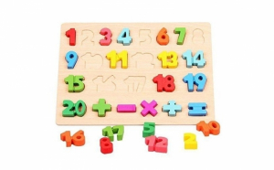 Puzzle 3D din lemn, cu cifre 1-20 si 5 semne de operatii matematice, finisaje de calitate si lacuri non-toxice