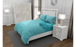 Lenjerie de pat matrimonial SUPER cu husa de perna patrata, Duo Turquoise, bumbac satinat, gramaj tesatura 120 g mp, Turcoaz Blue, 4 piese