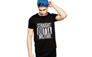 Tricou negru barbati - Straight Outta Militari
