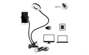 Set lampa circulara de masa cu clema tip ringlight + suport flexibil de telefon