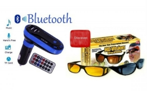 Kit auto Modulator FM Bluetooth HandsFree, USB + Set 2 perechi ochelari zi si noapte HD