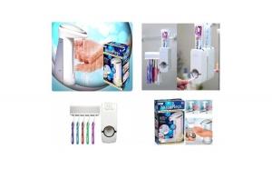 Set pentru baie - dozator de sapun + dozator pasta de dinti