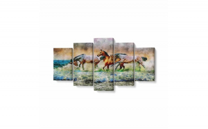 Tablou MultiCanvas 5 piese, Painted Horse, 200 x 100 cm, 100% Bumbac