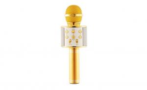 Microfon Karaoke Wireless WSTER WS-858, Bluetooth, Auriu