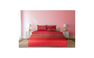 Lenjerie dubla Heinner Home, din bumbac, 4 piese, 132TC, model Fouta Red