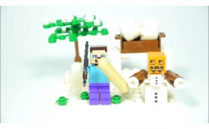 Set tip Lego , MineCraft Winter Steve and Snow Golem 60 piese