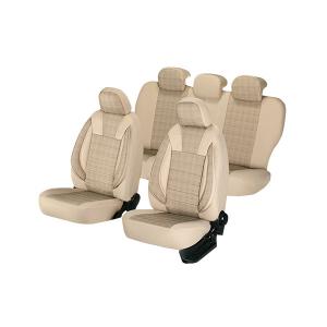 Huse scaune auto PEUGEOT 207 2006-2010  dAL Luxury Bej,Piele ecologica + Textil