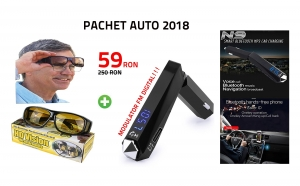 Pachet AUTO 2018: Modulator FM DIGITAL + Ochelari HD Vision