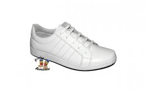 Pantofi sport pentru copii, din piele naturala, alb si negru