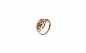 Inel Leopard din aur 18K cu rubine