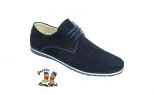 Pantofi copii din piele naturala intoarsa, negri si bleumarin