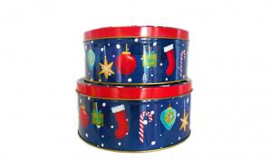 Set 2 cutii de craciun metalice cu capac, rotunde , Multicolor