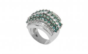 Inel din aur alb 14K cu diamante