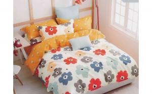Lenjerie de pat pentru doua persoane, cu doua fete, din Bumbac 100% - 4 piese  (model FL-BBC-25)