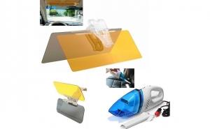 Super Pachet auto: Parasolar auto HD Vision cu functie pentru zi/noapte + Aspirator auto - totul cu doar 69 RON in loc de 169 RON