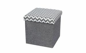 Taburet pliabil textil - cu spatiu de depozitare, gri