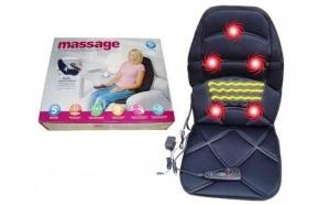 Saltea de masaj in cinci puncte, cu perna de aer, incalzire, alimentare auto si la priza, la doar 125 RON in loc de 368 RON