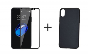 Pachet Apple iPhone X, Husa Silicon + Folie Sticla 3D, Negru