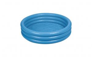 Piscina gonflabila pentru copii, de vara, rotunda, albastra, cu 3 inele, 168 x 40 cm, de vara