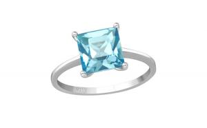 Inel argint, Patrat cu cristale