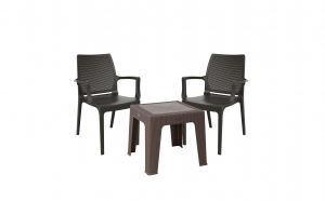 Set mobilier gradina / terasa / balcon, 1 masuta + 2 scaune icon, Maro / Negru