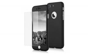 Husa Iphone 5/5s Full Cover 360 + folie sticla, Negru