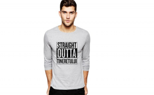 Bluza barbati gri cu text negru - Straight Outta Tineretului