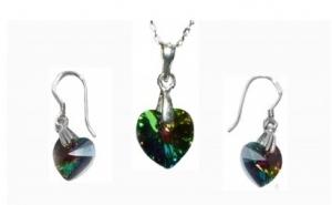 Set Big Heart din argint 925 lant si cercei, cu elemente de cristal Swarovski, la 145 RON in loc de 380 RON